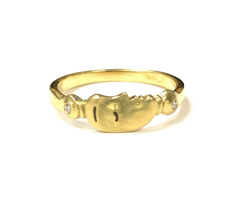 Big Sleep Face ring in 18k yellow gold with 0.02 ct. t.w. diamonds, $1,518; Alex Sepkus at Donald Hack