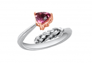 Bermuda Pine ring in 14k pink gold with a trillion-shape pink tourmaline and textured metal seeds, $550; email Stephanie@occhipintidesign.com for purchase