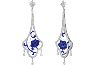Peony Symphony Frozen in Time Masterpiece earrings in 18k white gold with blue enamel, 34.8 cts. t.w. colorless quartz, and 4.02 cts. t.w. diamonds, $38,000; available online at Aisha Baker