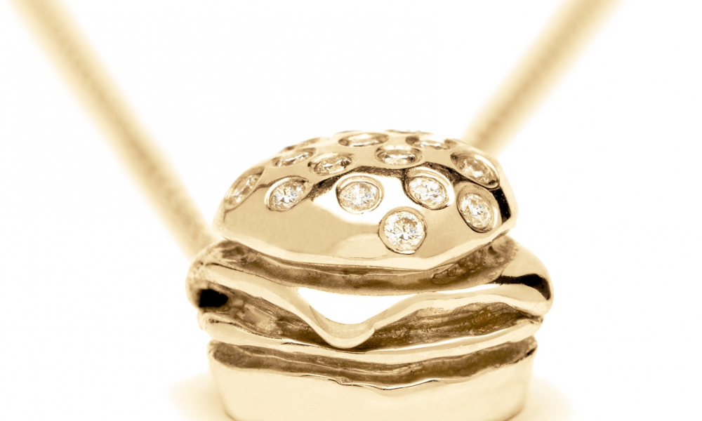 Diamond Cheeseburger pendant necklace in 14k yellow, rose, or white gold with diamonds, $1,575; available online at Aleweston.com
