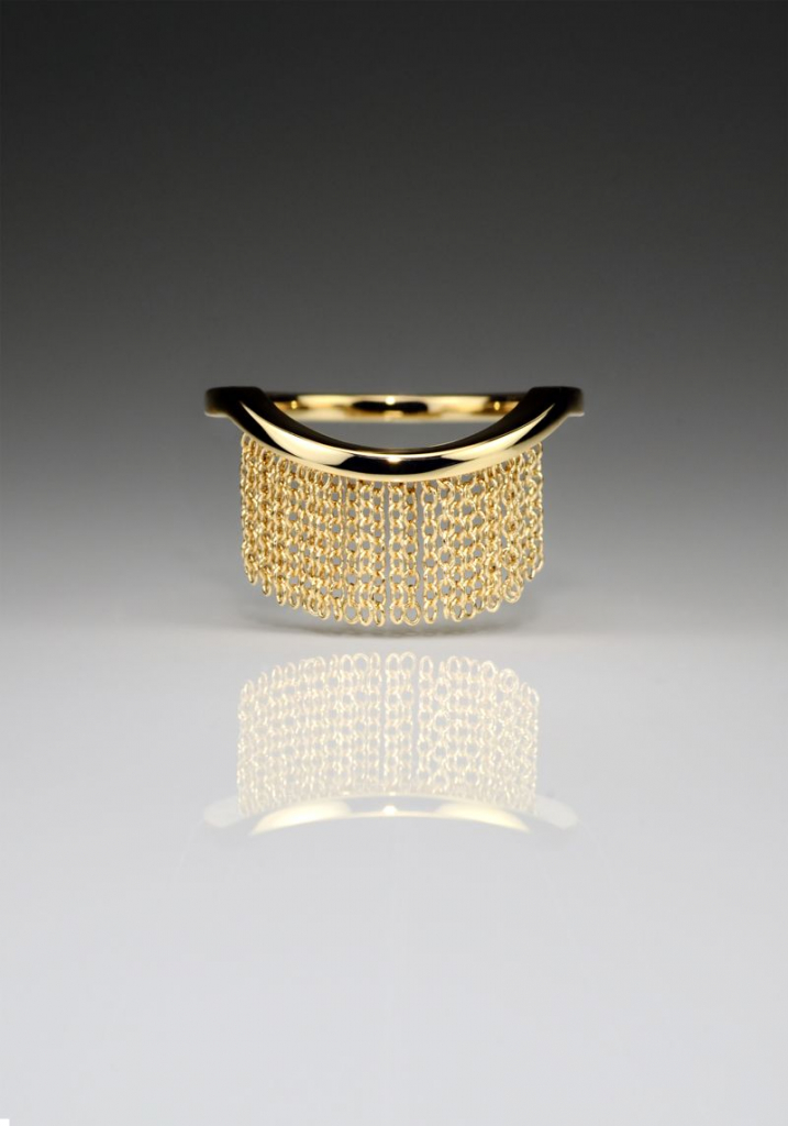 Fringe ring in 14k yellow gold, $691.61; available online at Andrea Blais