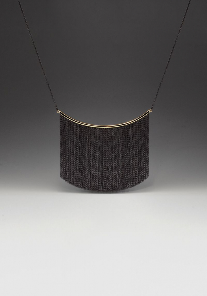 Large two-tone Fringe necklace in oxidized silver and 14k yellow gold, $1,250.64; available online at Andrea Blais