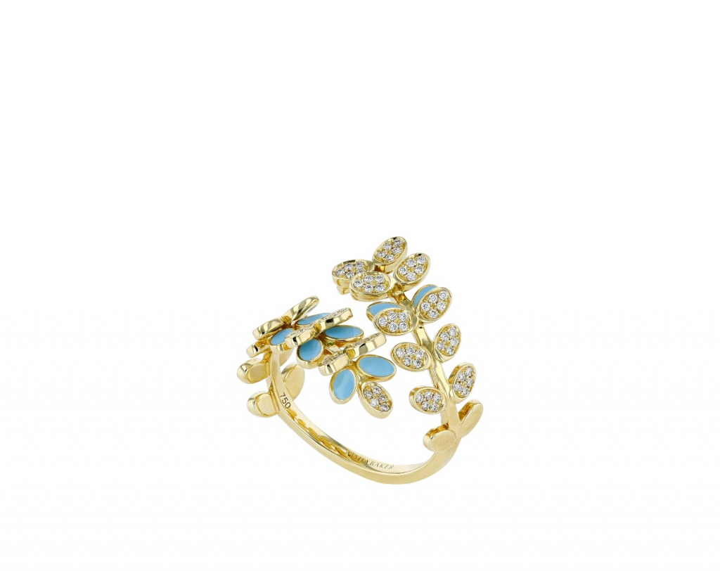 Victory Dance ring in 18k yellow gold with light blue enamel and 0.36 ct. t.w. diamonds, $4,900; available online at Aisha Baker