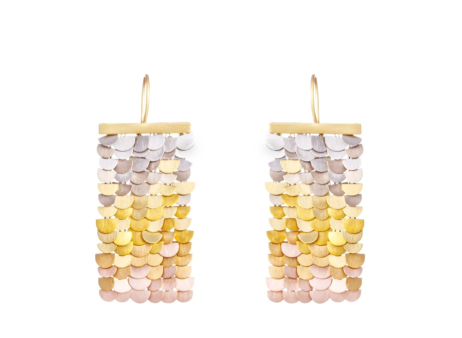 Mermaid earrings in 18k yellow, white, and rose gold, $5,760; available online at Von Bargens