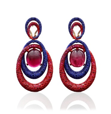 Cassandra earrings in 18k gold and sterling silver with 4.8 cts. t.w. rubies, 2.92 cts. t.w. blue sapphires, and 18.1 cts. t.w. red tourmaline, $22,500; available online at Faraone Mennella