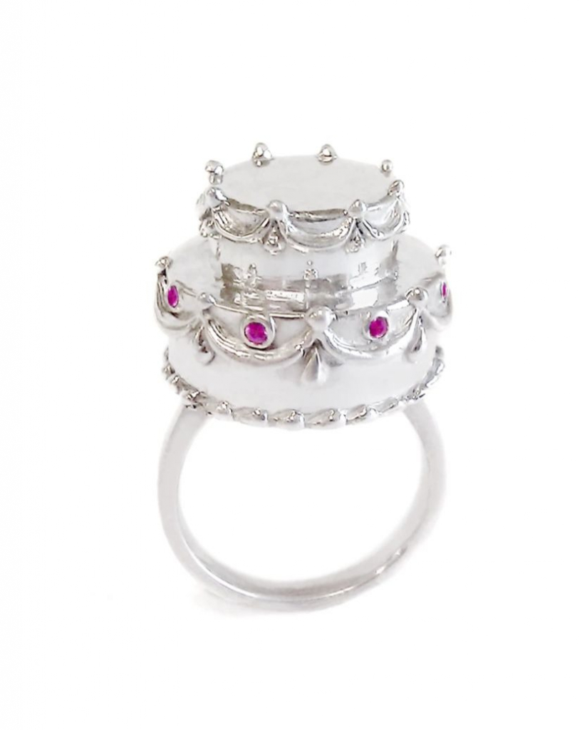 Jubilee ring in sterling silver with pink sapphires, $540; available online at Pinky Swear Jewelry
