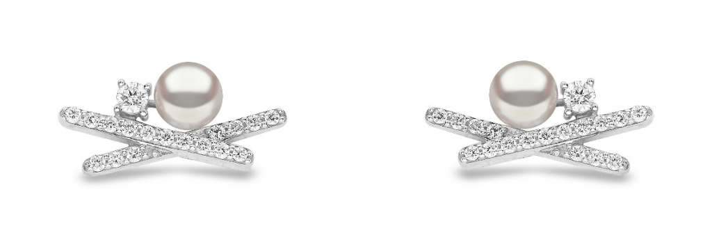 Earrings in 18k white gold with 4–4.5mm akoya pearls and 0.244 ct. t.w. diamonds, $900; available online at Yoko London