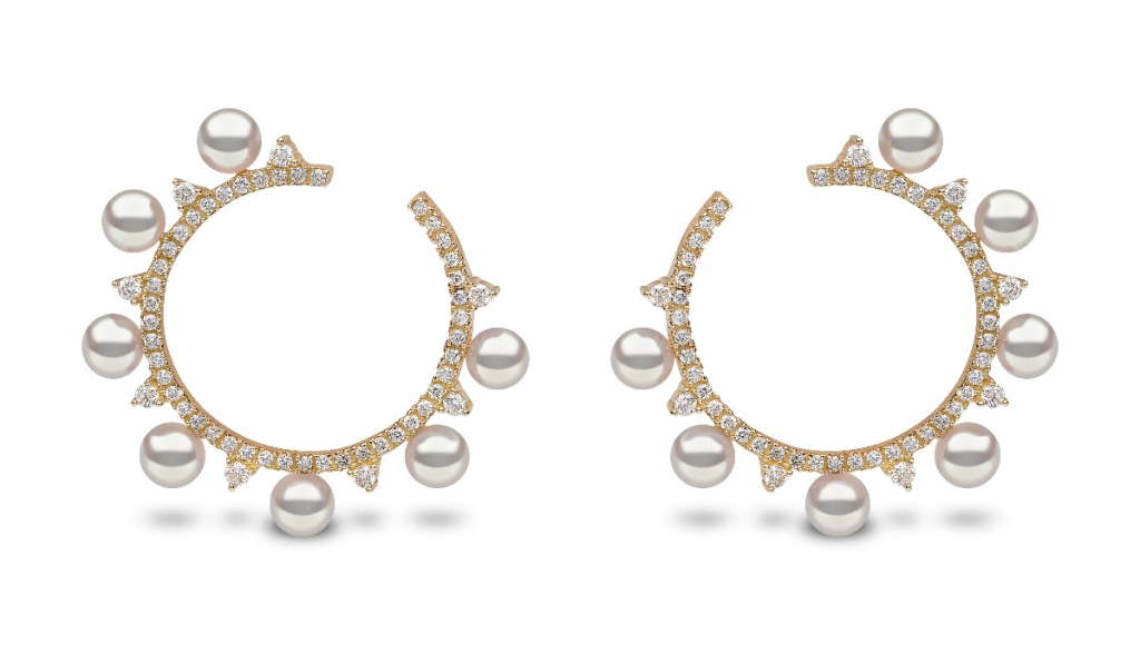 Earrings in 18k white gold with 4–4.5mm akoya pearls and 0.704 ct. t.w. diamonds, $2,200; available online at Yoko London