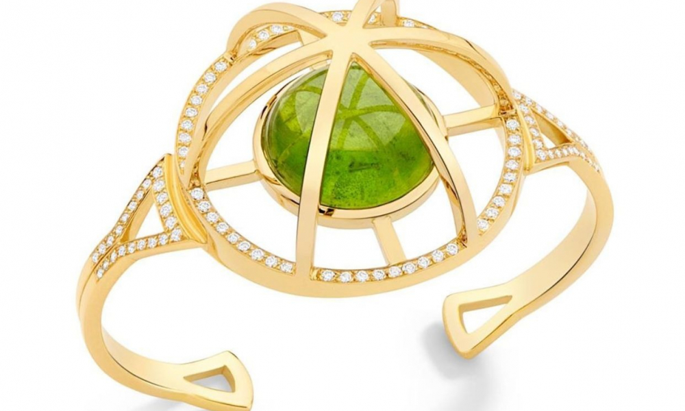 Cuff in 18k yellow gold with 36.36 ct. peridot and 1.3 cts. t.w. diamonds, price on request; Yael Sonia, inquiries to info@yaelsonia.com