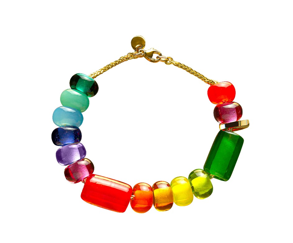 7-inch Arcadia bead Rainbow bracelet with one gold hinged link on a 9k yellow gold spiga chain, $640; available online at Robinson Pelham