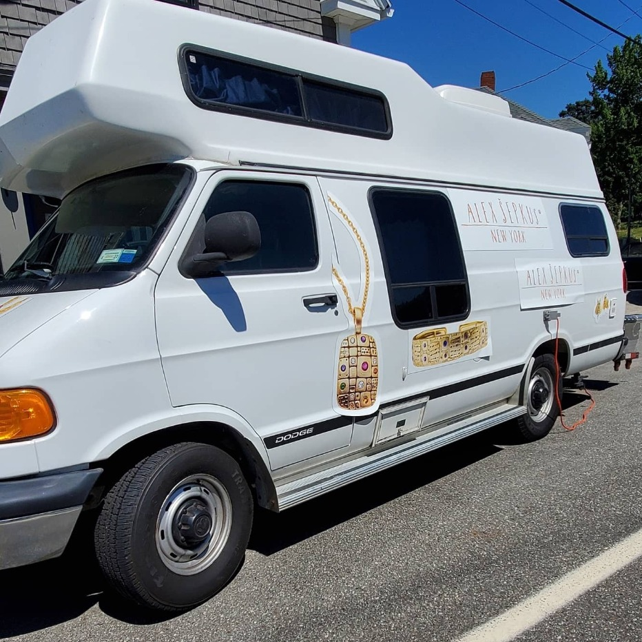 Van customized by Alex Sepkus jewelry for road trips