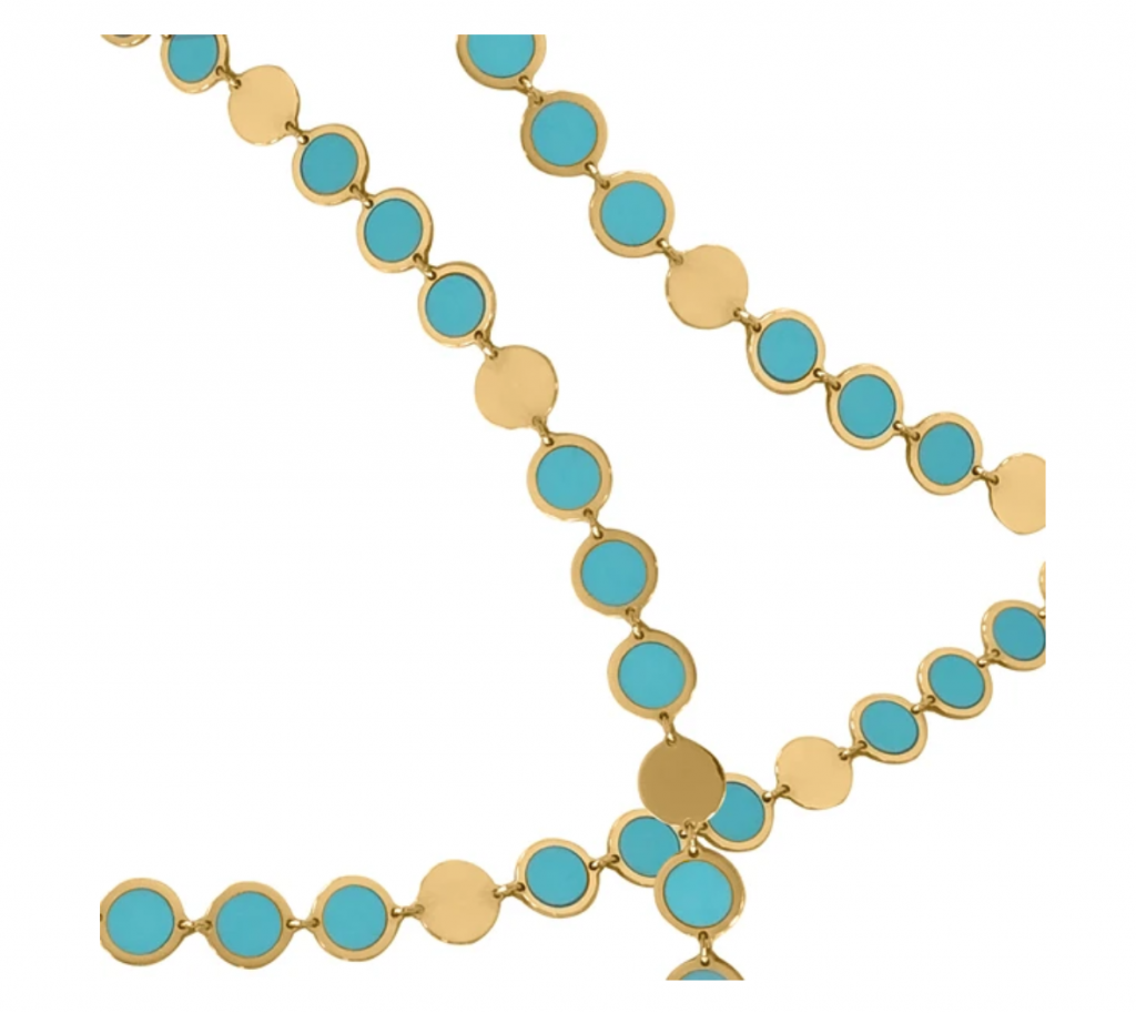 Boheme Confetti necklace (each circle link is 4.5 mm.) in 14k yellow gold with turquoise, $1,625; available online at Delphine Leymarie