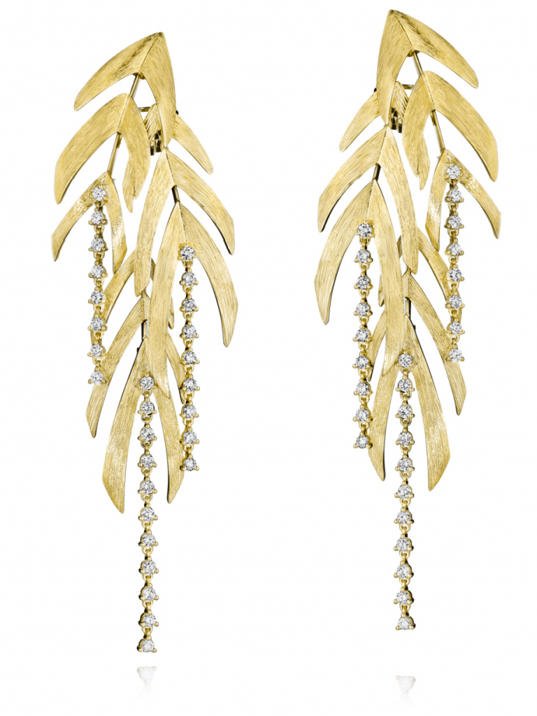 Bahia earrings in 18k yellow gold with diamonds; email thiago.hueb@hueb.com for price and purchase