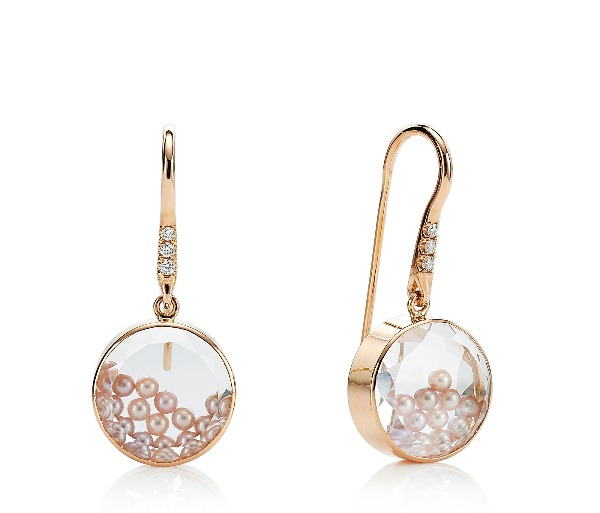 Concha earrings with natural-color pink freshwater pearls encased in a white sapphire kaleidoscope shaker and diamond accents, $2,700; email moritz@moritzglik.com for purchase