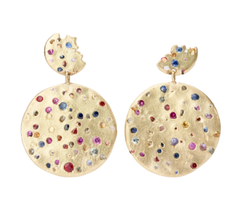 These one-of-a-kind Double Drop Disc earrings in 18k yellow gold with multicolor sapphires sold within days of their release for $4,400.