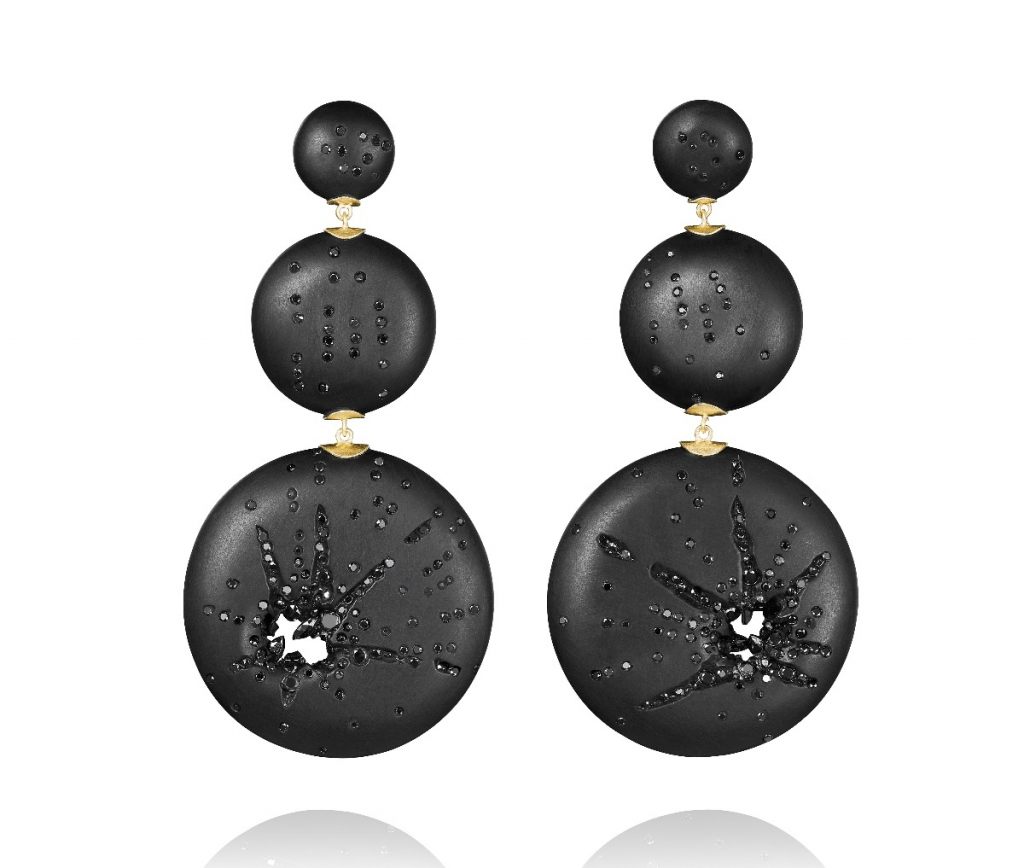 Explosion earrings in 18k yellow gold with Whitby jet and 3.5 cts. t.w. marquise and round brilliant diamonds, $3,320; email info@jacquelinecullen.com for purchase