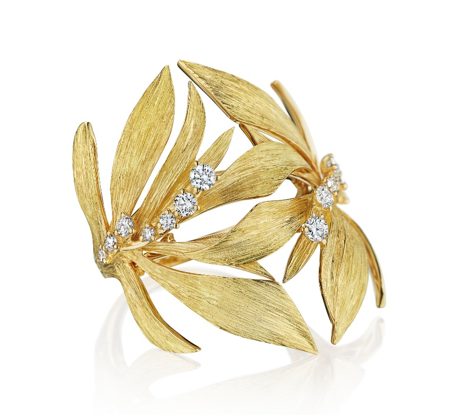 Bahia ring in 18k yellow gold with 0.3 ct. t.w. diamonds, $3,300; available online at Hueb