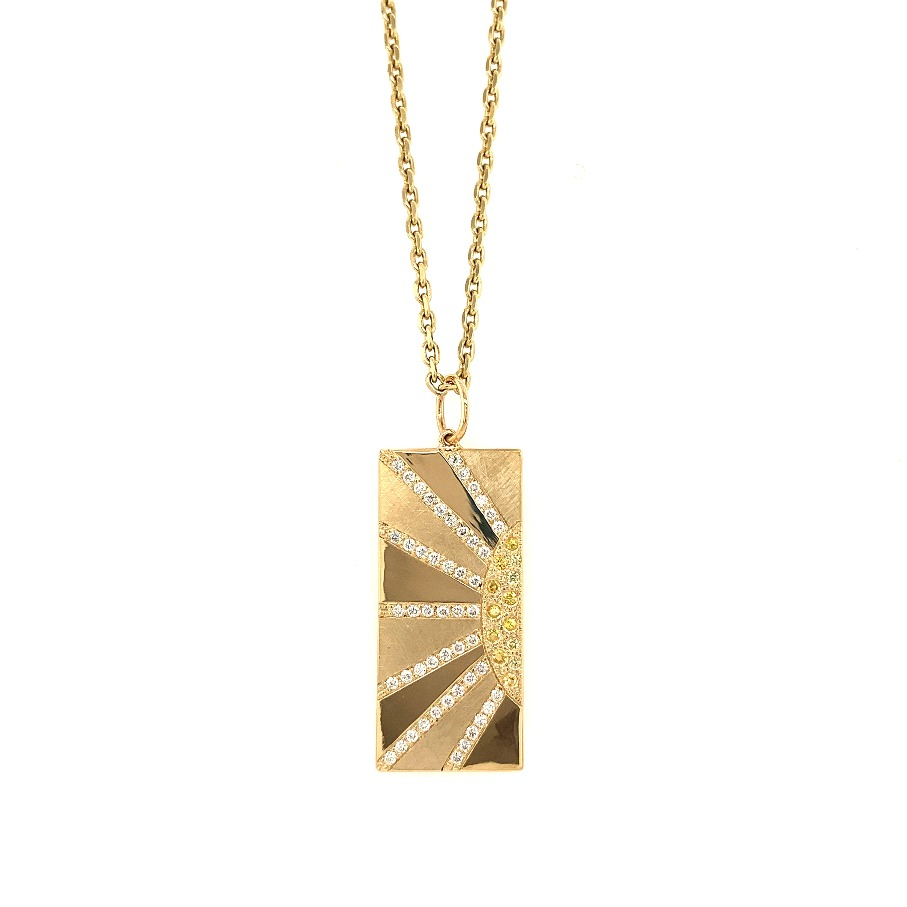 HOTT charm necklace in 14k yellow gold with 0.4 ct. t.w. full-cut colorless diamonds and 0.1 ct. t.w. yellow sapphires and an alternating satin and shiny finish, $6,119; available online at Julez Bryant