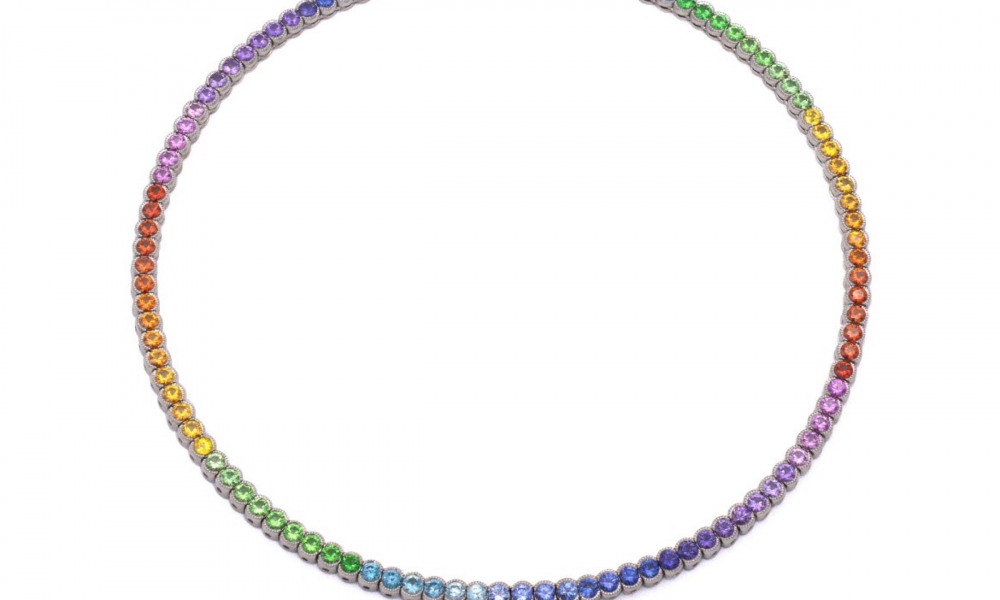 Rainbow Riviere necklace in platinum with 17.23 cts. t.w. sapphires, 4.14 cts. t.w. blue zircon, and 3.60 cts. t.w. tsavorite, price on request, Featherstone Design; email studio@featherstonedesign.com for purchase