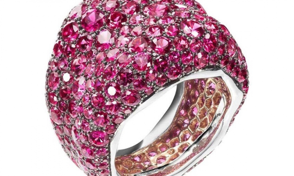 Emotion Chunky ring in 18k pink gold with 14.84 cts. t.w. pink sapphires, $22,000; available online at Fabergé
