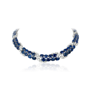 Necklace in 18k white gold with 101.2 cts. t.w. blue sapphires and 12.51 cts. t.w. diamonds, $240,000; email Caroline@andreoliusa.com for purchase