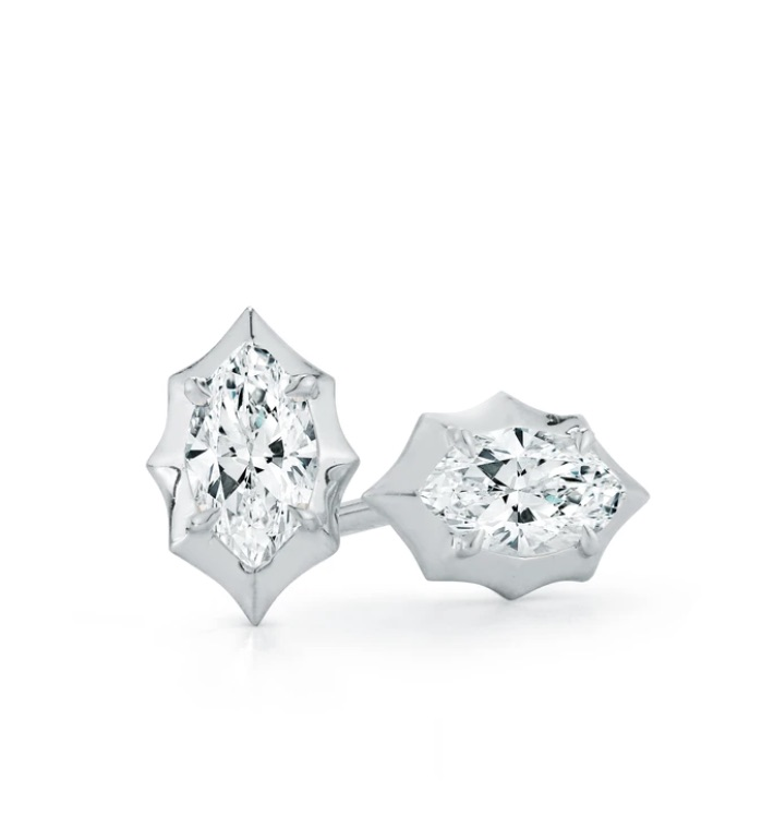 Maverick stud earrings in 18k white gold with 0.4 cts. t.w. Forevermark marquise-cut diamonds, $2,200; available online at Jade Trau https://jadetrau.com/products/maverick-studs?_pos=2&_sid=7951dd2ad&_ss=r
