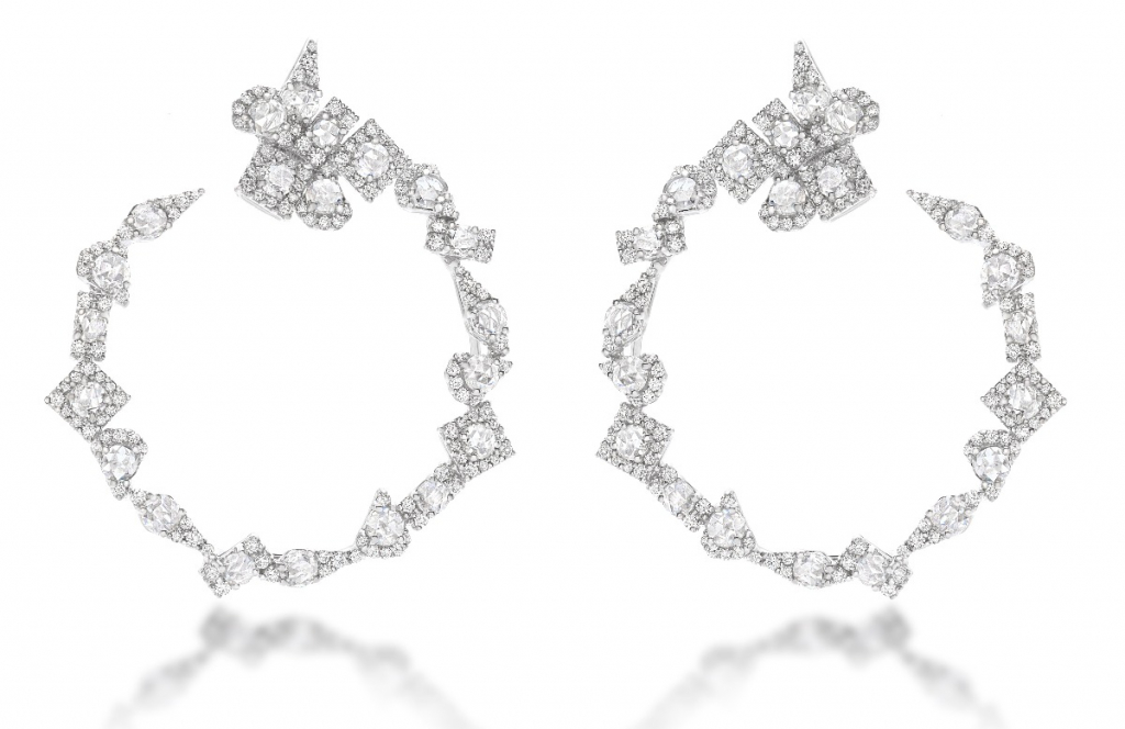 Mirò earrings in 18k white gold with diamonds, €18,800; email r.steri@utopia-jewels.com for purchase