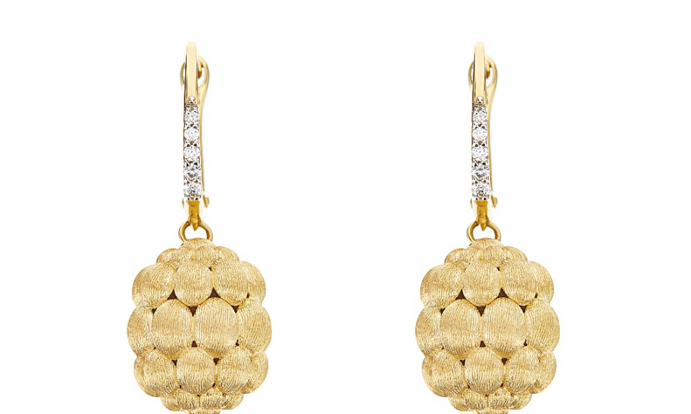 Morette drop earrings in 18k yellow gold with diamond accents, $1,740; email chiara.matteazzi@nanis.it for purchase