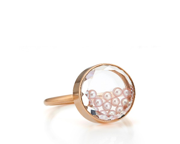 Concha ring in 18k rose gold with natural-color pink freshwater pearls encased in a white sapphire kaleidoscope shaker, $1,900; email moritz@moritzglik.com for purchase