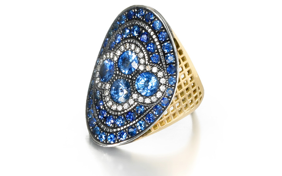 Regency ring in 18k yellow gold with natural-color Ceylon sapphires, 4.10 cts. t.w. pave sapphire, and 0.20 ct. t.w. diamond pave, $8,350; email kirsten@raygriffiths.com for purchase