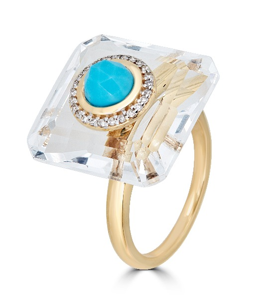 Medium-size ring in 14k yellow gold with colorless rock crystal, a turquoise cabochon, and 0.2 ct. t.w. diamonds, $1,650; email ShaillJewelry@gmail.com for purchase