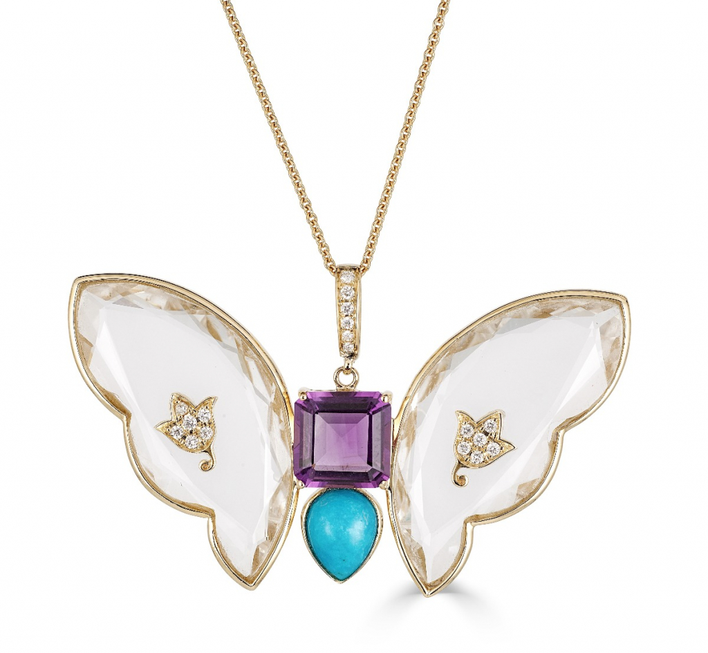 Butterfly pendant necklace in 14k yellow gold with colorless rock crystal, 4.11 cts. t.w. amethyst, 2.05 cts. t.w. turquoise, and 0.21 ct. t.w. diamonds, $3,455; email ShaillJewelry@gmail.com for purchase