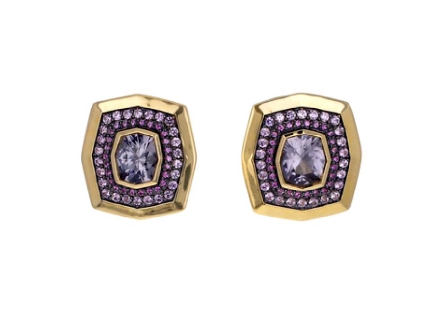 Earrings in 18k yellow gold with 0.68 cts. t.w. pink sapphires and 2.15 cts. t.w. purple-gray spinel, by Sorellina $3,200; available online at Twist