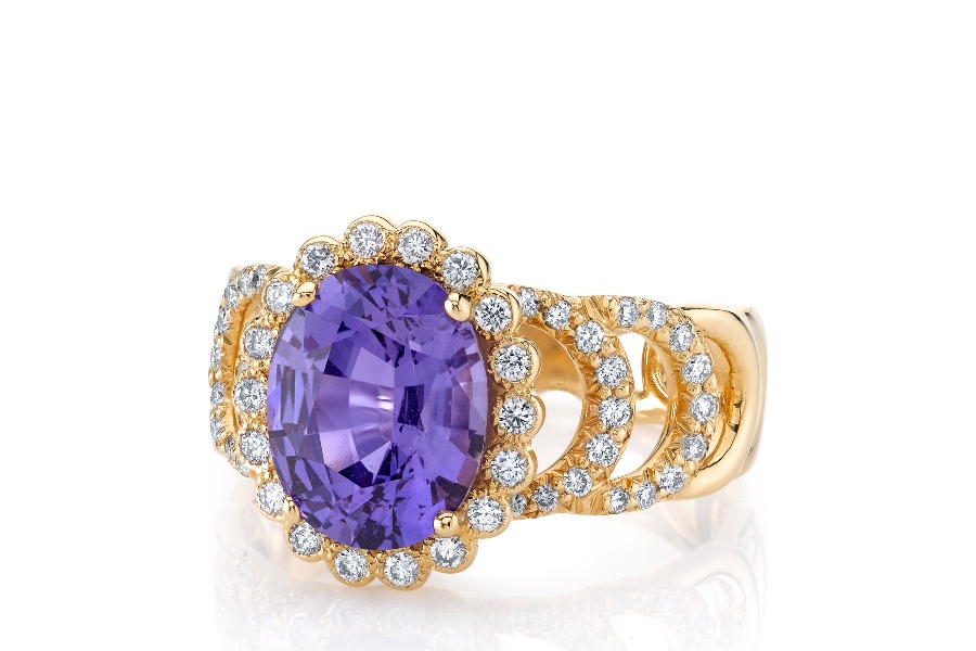 Sweet Pea ring in 18k yellow gold with a 3.28 ct. unheated purple sapphire from Madagascar and 0.53 ct. t.w. diamonds, $21,000, Erica Courtney; email jilienne@ericacourtney.com for purchase