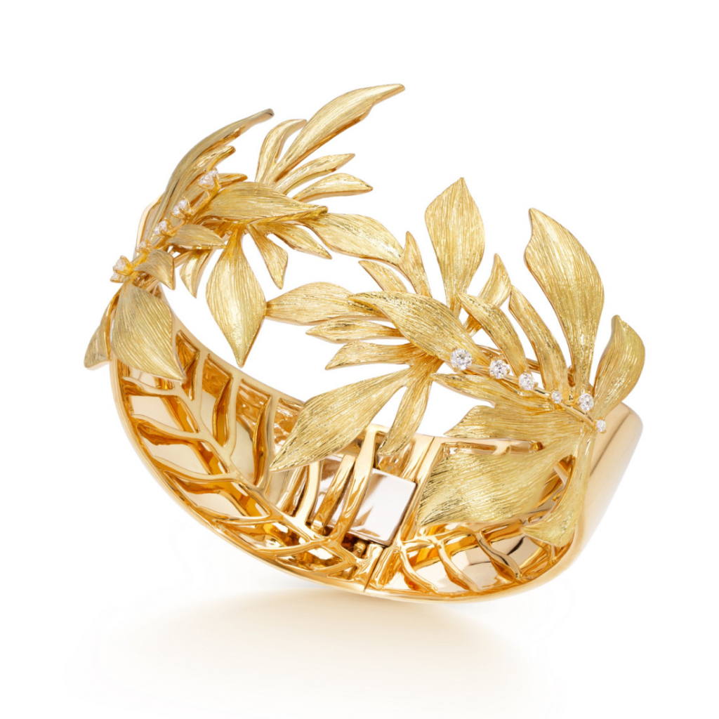 Bahia bangle in 18k yellow gold with 0.3 ct. t.w. diamonds, $17,600; available online at Hueb