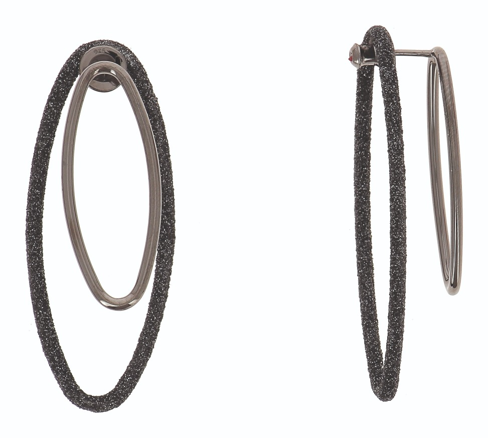 Double Your Charm Polvere Di Sogni Large Combo Oval earrings in silver with ruthenium plating and the brand's proprietary surface texturing, $435; email ecornfield@gioielligroup.com for purchase