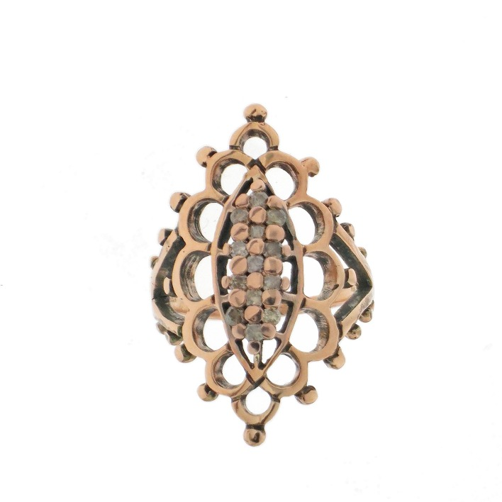 Navette ring in 9k rose gold with brown diamonds, €990; email Info@laurentgandini.com for purchase