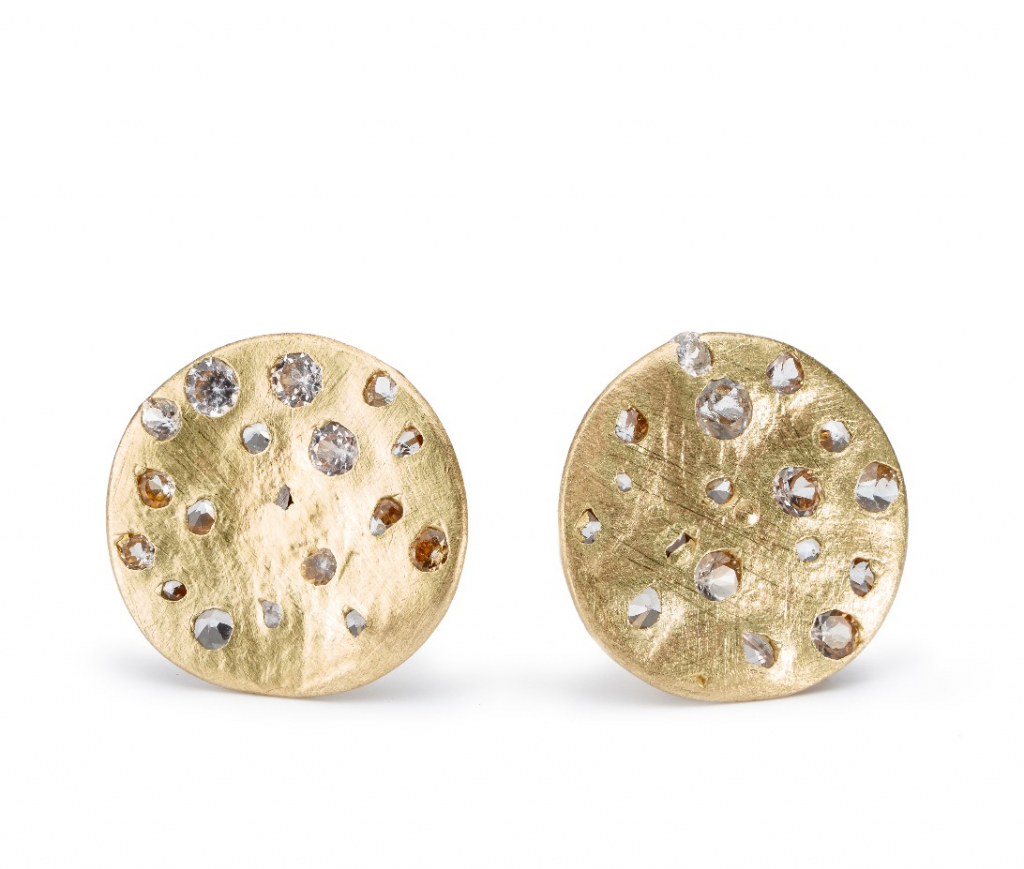 Disc stud earrings in 18k yellow gold with white sapphires, $2,060; available online at Polly Wales