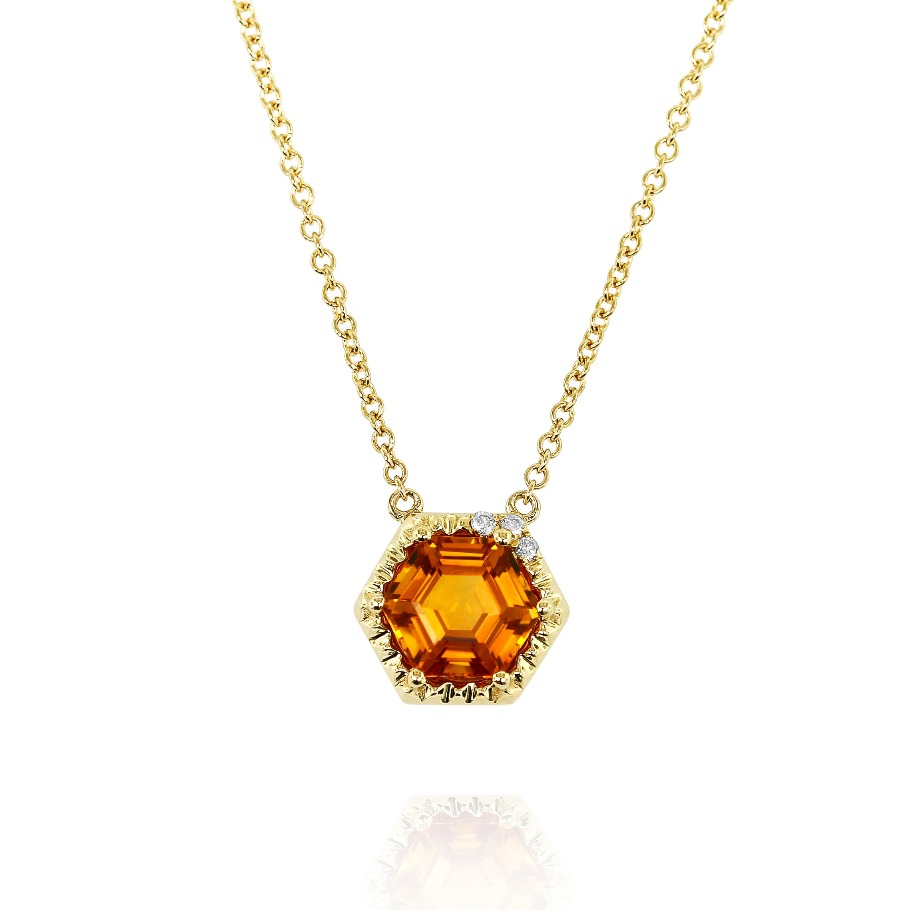 Pendant necklace in 14k yellow gold with a 1.4 ct. hexagon-cut citrine and 0.03 ct. t.w. diamonds, $1,102; email randy@yaeldesigns.com for purchase