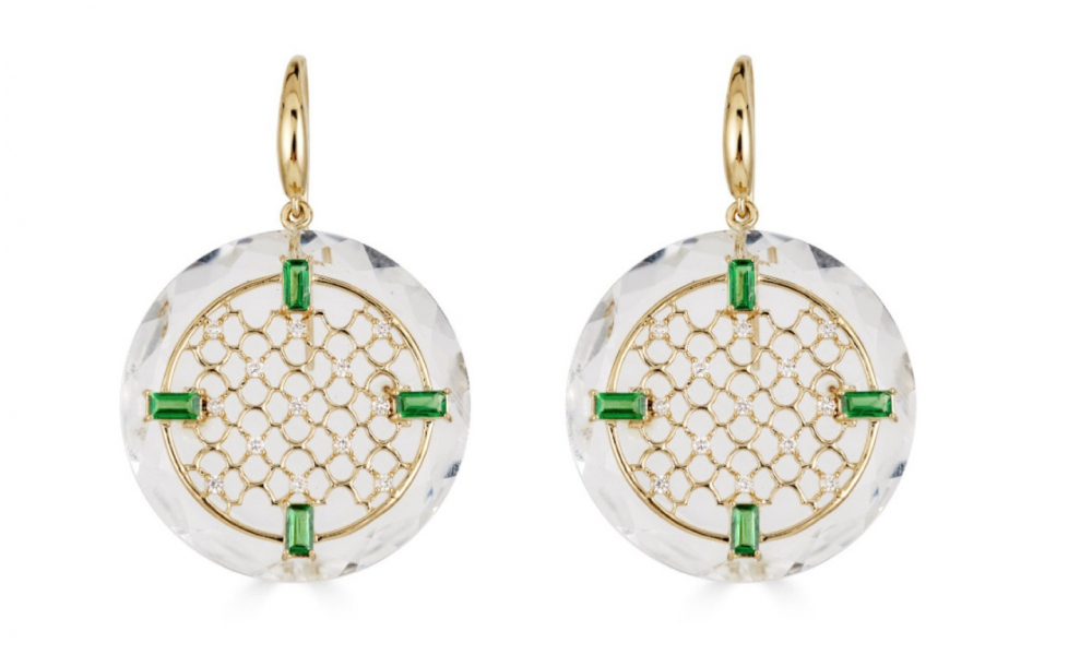 Drop earrings in 14k yellow gold with colorless rock crystal, 1.23 cts. t.w. tsavorite, and 0.31 ct. t.w. diamonds, $3,565; email ShaillJewelry@gmail.com for purchase