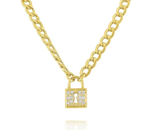 Padlock necklace in 14k gold with diamonds is from KC Designs' KCNY Collection