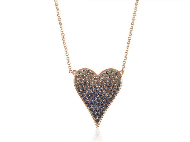 Heart necklace in 14k rose gold with 1.02 cts. t.w. blue sapphires and 0.07 ct. t.w. diamonds, $1,150; available online at Adriana Fine Jewelry