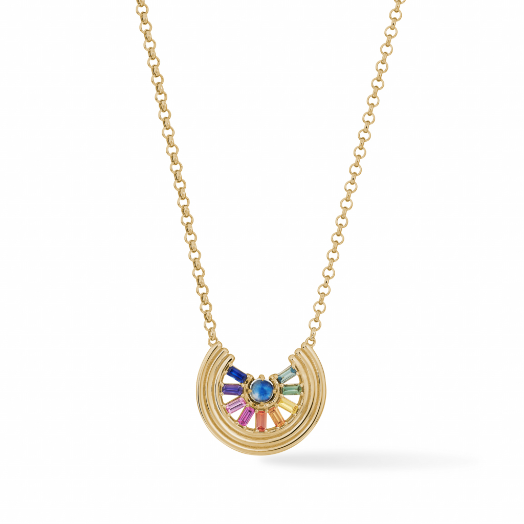Rainbow Revival necklace in 14k yellow gold with rainbow moonstone and 1.2 cts. t.w. baguette-cut sapphires, $3,950; available online at Park Ford Jewelry