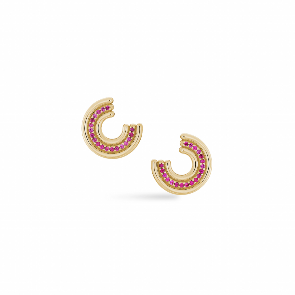 Midi Revival stud earrings in 14k yellow gold with 0.38 ct. t.w. hot pink sapphires, $3,470; available online at Park Ford Jewelry