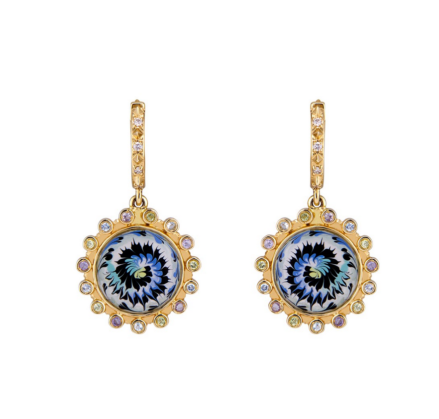 Mini Tie Dye earrings in 14k yellow gold with tanzanite, aquamarine, peridot, and diamonds by Marlo Laz, $4,200; available online at Ylang23