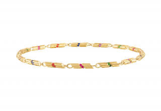 Portofino Penne link necklace in 18k yellow gold with 3.85 ct. colored sapphires and tsavorite garnets, $15,500