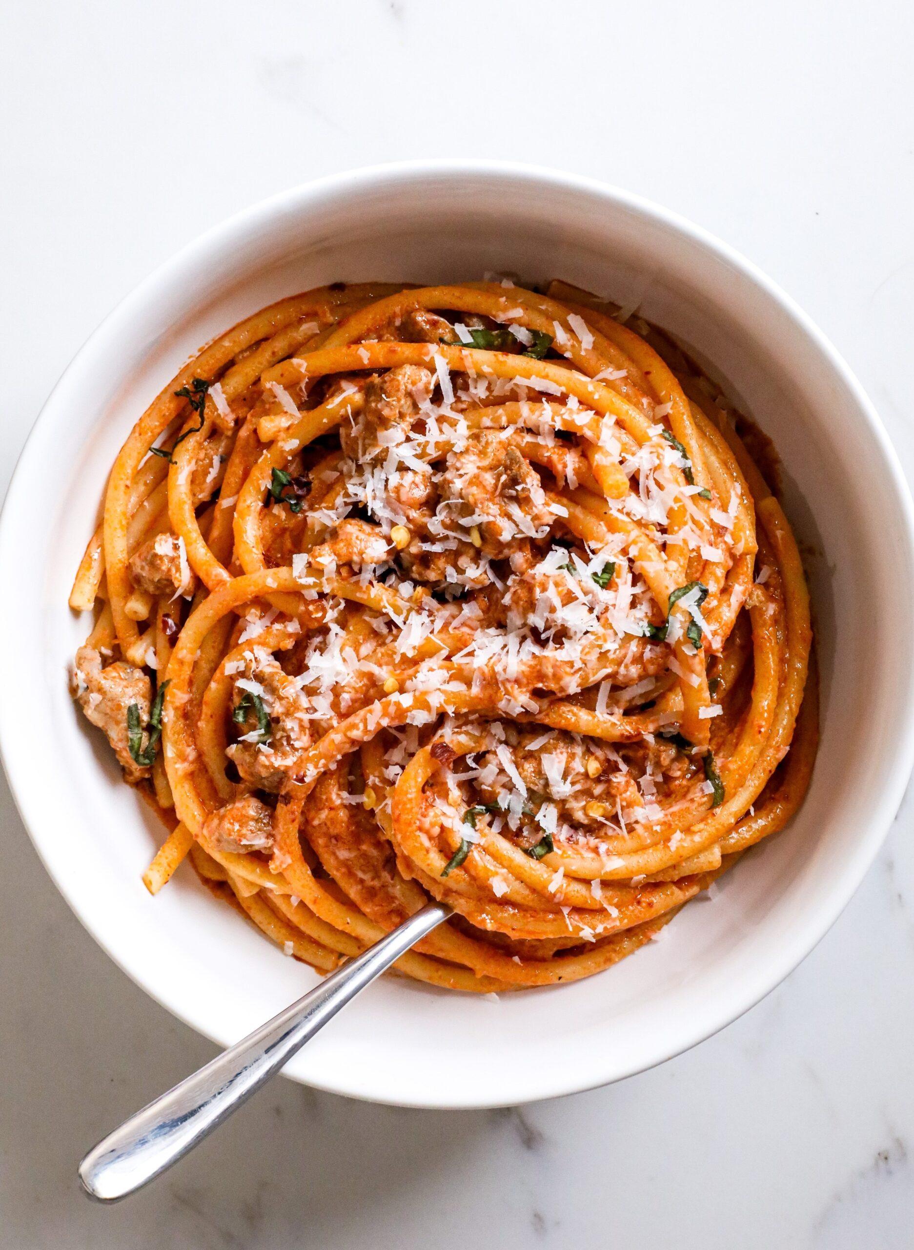 spicy vodka pasta with sausage