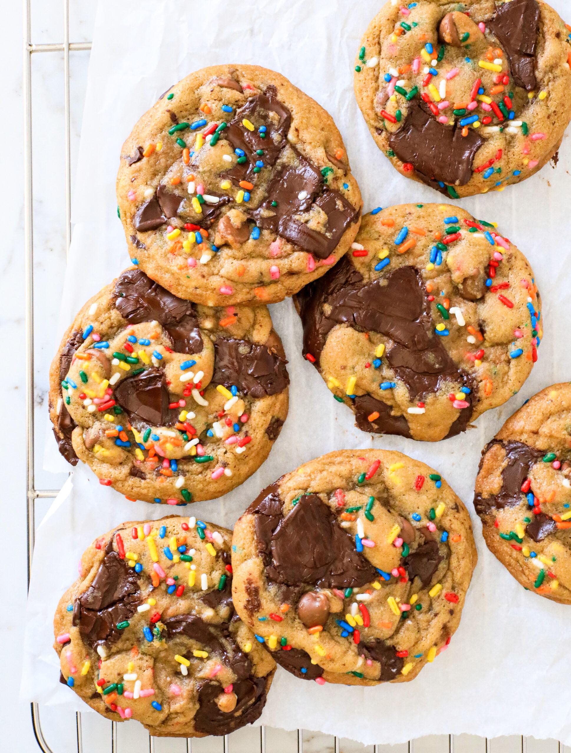 browned butter dark chocolate chunk funfetti cookies