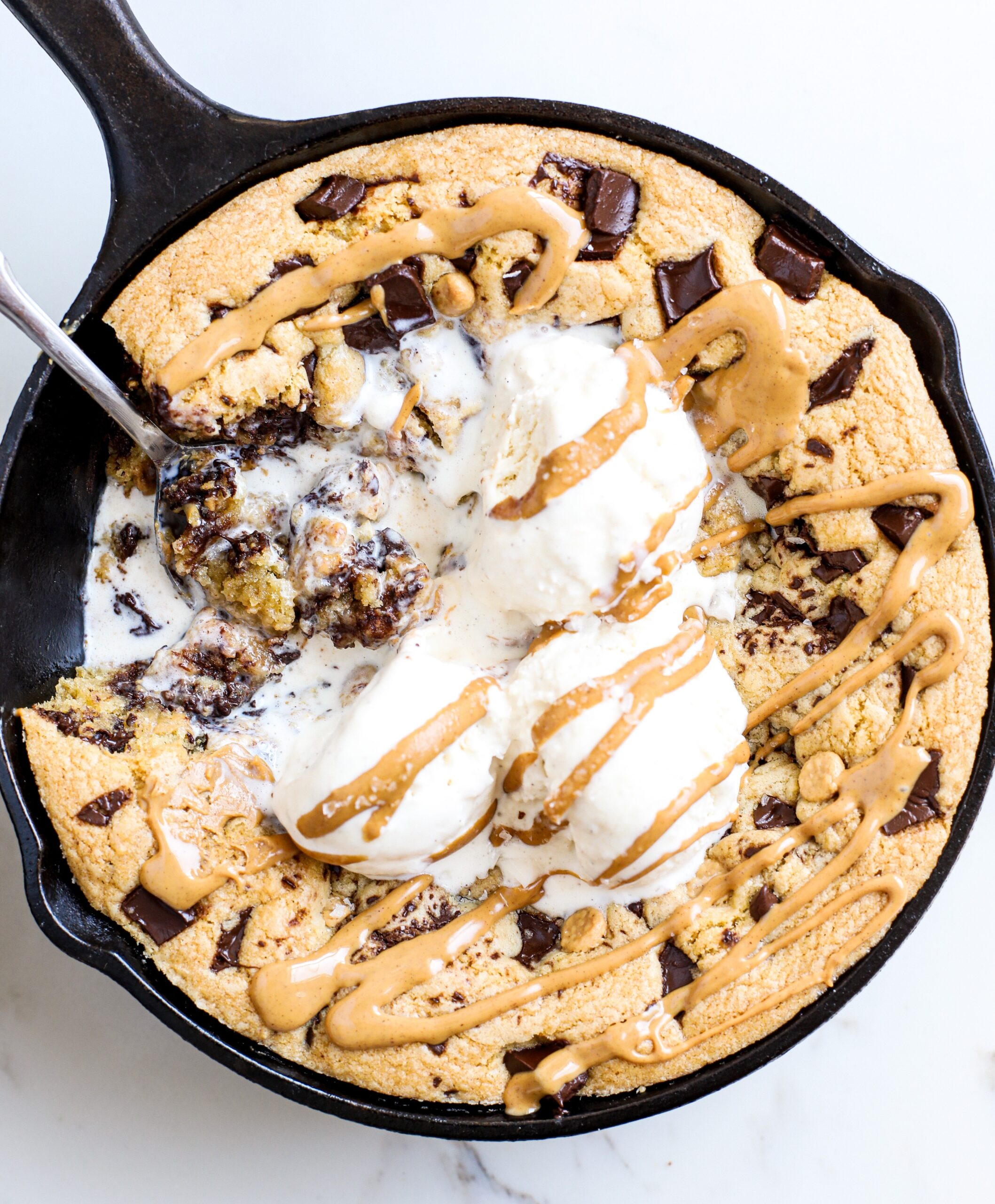 Chocolate Chip Peanut Butter Skillet Cookie