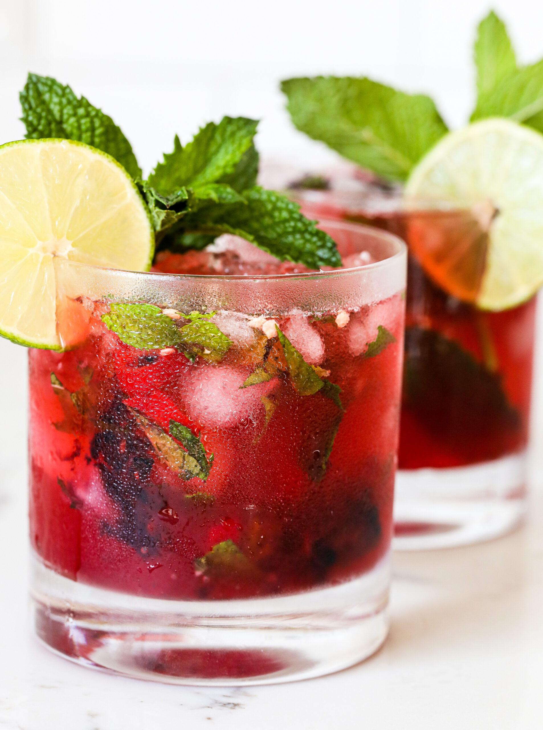 Spicy Blackberry Mint Margaritas